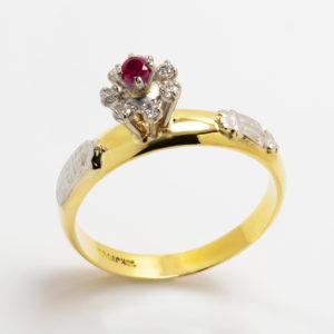 Anel de Direito em ouro amarelo com rubi e diamantes