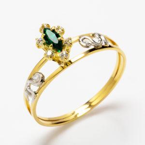 Anel de Medicina em ouro amarelo com esmeralda e diamantes