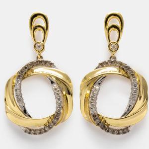 Brincos em ouro amarelo e branco com diamantes